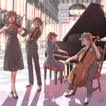 4girls bangs bare_shoulders black_eyes black_hair blue_eyes brown_hair cello chair colonnade concert dress elska0813 formal glasses grand_piano hairband haruna_(kantai_collection) hiei_(kantai_collection) high_heels indoors instrument jacket kantai_collection kirishima_(kantai_collection) kongou_(kantai_collection) lens_flare light_smile long_hair long_sleeves looking_back multiple_girls one_eye_closed open_mouth pant_suit pants piano playing_instrument puffy_short_sleeves puffy_sleeves semi-rimless_glasses shadow short_hair short_sleeves signature sitting smile standing stool strapless_dress suit sunlight violin