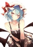 1girl alternate_costume apron bangs bare_shoulders bat_wings black_gloves black_skirt blue_hair blush bow breasts camisole collarbone commentary_request eyebrows_visible_through_hair gloves hair_between_eyes hat hat_ribbon head_tilt looking_at_viewer mob_cap partial_commentary pink_bow pointy_ears red_eyes red_ribbon remilia_scarlet ribbon sakusyo short_hair simple_background skirt skirt_set small_breasts solo spaghetti_strap touhou upper_body v_arms waist_apron white_apron white_background white_headwear wings