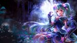 1girl :d animal_ears blurry blurry_background fangs floating_hair full_moon gloves green_hair hair_between_eyes hatsune_miku long_hair looking_at_viewer midriff moon navel night open_mouth outdoors purple_gloves red_eyes shigemu_room sitting smile solo stomach very_long_hair vocaloid wolf_ears