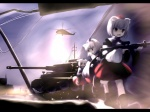 3girls animal_ears brown_eyes caterpillar_tracks chipika gun helicopter inubashiri_momiji military military_vehicle multiple_girls power_lines tank touhou vehicle weapon white_hair wolf_ears