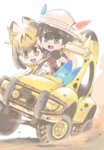 2girls :d animal_ears ategon backpack bag black_gloves black_hair blonde_hair bright_background bucket_hat chibi crack dirt driving dust eyebrows fang gloves grabbing ground_vehicle hair_between_eyes hand_up hat hat_feather headlight japari_bus kaban_(kemono_friends) kemono_friends lucky_beast_(kemono_friends) motion_blur motor_vehicle multiple_girls open_mouth red_shirt serval_(kemono_friends) serval_ears serval_print shirt short_hair short_sleeves smile tire vehicle yellow_eyes