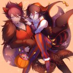 2boys alternate_costume animal_ears artist_name asymmetrical_sleeves beard black_gloves black_hair candy commentary danganronpa eyebrows_visible_through_hair facial_hair food fur fur_collar gloves hair_between_eyes halloween happy_halloween hat heart highres holding jester jester_cap long_sleeves looking_at_viewer momota_kaito multiple_boys new_danganronpa_v3 one_eye_closed ouma_kokichi paws pumpkin purple_eyes purple_hair short_hair smile striped striped_legwear tail tokilos wolf_ears wolf_tail yaoi