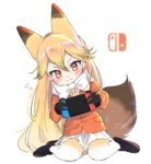 1girl 3: 3:< animal_ears black_footwear black_gloves black_shoes blazer blonde_hair bow closed_mouth controller extra_ears ezo_red_fox_(kemono_friends) flying_sweatdrops fox_ears fox_tail full_body fur-trimmed_sleeves fur_trim game_controller gloves gradient_hair gradient_legwear hair_between_eyes highres holding jacket kemono_friends loafers long_hair long_sleeves looking_down multicolored multicolored_clothes multicolored_hair multicolored_legwear necktie nintendo_switch orange_eyes orange_jacket pantyhose playing_games pleated_skirt pocket scarf shoes sige_nb simple_background sitting skirt solo sweat tail tsurime two-tone_legwear very_long_hair wariza white_background white_bow white_legwear white_scarf white_skirt yellow_legwear yellow_necktie