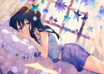 1girl achiki bangs barefoot bed black_hair blush closed_mouth commentary_request curtains day dutch_angle eyebrows_visible_through_hair fingernails formal frilled_pillow frills hair_between_eyes legs_up long_hair lying on_bed on_stomach original pillow purple_eyes purple_skirt short_sleeves skirt smile solo star suit sunlight transparent white_suit window