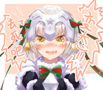1girl bell black_gloves blonde_hair blush chinese commentary fang fate/grand_order fate_(series) gloves hair_ribbon headpiece highres jeanne_alter jeanne_alter_(santa_lily)_(fate) looking_at_viewer ltai pointing_weapon ribbon ruler_(fate/apocrypha) simple_background solo tears translated yellow_eyes