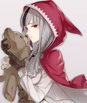 1girl animal_ears belt black_gloves black_hair black_pants commentary_request fire_emblem fire_emblem_fates gloves grey_background grey_hair haru_(nakajou-28) holding holding_stuffed_animal hood long_hair long_sleeves looking_at_viewer multicolored_hair pants portrait red_eyes simple_background solo stuffed_animal stuffed_toy tail teddy_bear toy two-tone_hair velouria_(fire_emblem) wolf_ears wolf_tail