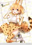 1girl :d absurdres animal_ears animal_print bangs bare_shoulders belt blonde_hair blush boots bow bowtie breasts brown_eyes character_name clenched_hands dress elbow_gloves extra_ears eyebrows_visible_through_hair fang frame full_body gloves hands_up highres kemono_friends legs_up looking_at_viewer medium_breasts open_mouth paw_pose scan serval_(kemono_friends) serval_ears serval_print serval_tail shiny shiny_hair shiny_skin short_hair simple_background skirt sleeveless sleeveless_dress smile solo tail thighhighs toosaka_asagi white_footwear