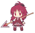 1girl bangs bare_shoulders black_legwear black_ribbon blush boots chibi commentary_request detached_sleeves dress eyebrows_visible_through_hair food food_in_mouth full_body grin hair_ribbon holding holding_spear holding_weapon long_hair long_sleeves looking_at_viewer magical_girl mahou_shoujo_madoka_magica mouth_hold pink_skirt pleated_skirt pocky polearm purple_eyes purple_hair red_dress red_footwear ribbon rinechun sakura_kyouko simple_background skirt sleeveless sleeveless_dress smile solo spear standing thighhighs very_long_hair weapon white_background