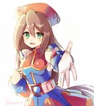 1girl android bangs belt beret blush breasts brown_hair capcom clenched_hand dress eyebrows_visible_through_hair gloves green_eyes hair_between_eyes hat iris_(rockman_x) long_hair looking_at_viewer looking_to_the_side medium_breasts open_mouth outstretched_arm reaching_out red_hat rento_(rukeai) rockman rockman_x rockman_x4 smile solo teeth white_gloves