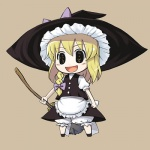 1girl apron blonde_hair bloomers blush bow braid broom chibi hair_bow hat holding kabayaki_unagi kirisame_marisa lowres open_mouth puffy_short_sleeves puffy_sleeves shirt short_sleeves side_braid simple_background skirt skirt_set solo touhou underwear vest white_bloomers white_shirt witch_hat