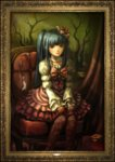 1girl absurdres bangs blue_eyes blue_hair blunt_bangs bow chair choker curtains dress ekusa_takahito end_of_the_golden_witch feet_out_of_frame flower frame frilled_dress frills furudo_erika hair_flower hair_ornament highres lolita_fashion official_art painting_(object) pantyhose pink_bow portrait_(object) ribbon sitting smile solo throne too_many too_many_frills twintails umineko_no_naku_koro_ni v_arms when_you_see_it