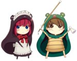 2girls apron bangs blue_eyes blush boa_(brianoa) brown_eyes brown_hair chibi closed_mouth cosplay eyebrows_visible_through_hair eyes_visible_through_hair fate/stay_night fate_(series) fujimura_taiga full_body hands_up highres himouto!_umaru-chan hisui holding holding_weapon jitome komaru komaru_(cosplay) looking_at_viewer maid maid_apron maid_headdress multiple_girls neck_ribbon red_hair red_ribbon ribbon smile standing transparent_background tsukihime weapon