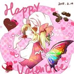 1girl alternate_wings blonde_hair blush bow butterfly_wings chocolate cropped_torso dated eating english flandre_scarlet food hat heart holding_chocolate medium_hair mob_cap pink_bow polka_dot rainbow red_eyes shirt solo touhou upper_body valentine white_hat wings yuyuhashi