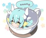... 1girl :< aqua_hair bangs blush closed_mouth commentary cup dragon_horns eyebrows_visible_through_hair fate/grand_order fate_(series) hair_between_eyes headgear horns in_container in_cup kiyohime_(fate/grand_order) long_hair looking_at_viewer milkpanda minigirl solo spoken_ellipsis very_long_hair yellow_eyes
