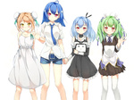 4girls acfun acfun_girl ahoge aqua_hair bare_shoulders bili_girl_22 bili_girl_33 bilibili_douga blue_hair blush brown_hair bun_cover cu_(fsy84738368) double_bun dress green_dam green_hair hair_bun hair_ribbon highres holding_hands long_hair mascot multiple_girls necktie os-tan personification red_eyes ribbon short_hair simple_background skirt television twintails waving white_background yellow_eyes
