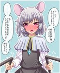 ... 1girl animal_ears blue_background blush commentary confession dowsing_rod dress eyebrows_visible_through_hair flat_chest fusu_(a95101221) grey_dress grey_hair highres jewelry long_sleeves looking_at_viewer mouse_ears nazrin pendant red_eyes shiny shiny_hair short_hair solo touhou translated