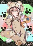 1girl :o absurdres animal_costume arm_behind_head bandages bear_costume boko_(girls_und_panzer) cast commentary copyright_name eyebrows_visible_through_hair full_body girls_und_panzer hand_on_own_head highres kneeling light_brown_hair long_hair looking_at_viewer multicolored multicolored_background murata_ryou open_mouth pajamas paw_print shimada_arisu socks solo stuffed_animal stuffed_toy teddy_bear white_legwear