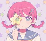 1girl artist_name ascot bangs blue_eyes blush braid candy eyebrows_visible_through_hair food hair_ornament hairclip heart heart_hair_ornament medium_hair nokanok original parted_lips portrait red_hair sailor_collar school_uniform see-through serafuku solo star star-shaped_pupils symbol-shaped_pupils twin_braids twintails yellow_neckwear