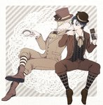 2boys blonde_hair blue_hair boots brown_footwear candy_bar chocolate chocolate_bar cravat cross-laced_footwear crossed_legs cup dio_brando doily finger_licking formal hat jojo_no_kimyou_na_bouken jonathan_joestar kochi_(tinga) licking looking_at_another male_focus multiple_boys phantom_blood sitting suit teacup top_hat
