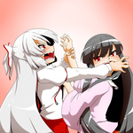 2girls black_hair cheek_pull fighting fujiwara_no_mokou hair_ribbon highres houraisan_kaguya long_hair multiple_girls open_mouth red_eyes ribbon tears touhou white_hair yuuki_(yukigeshou_hyouka)