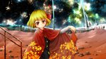 1girl blonde_hair book cape commentary_request hair_ribbon highres leaf_print night night_sky ribbon rumia short_hair signature sky star_(sky) starry_sky touhou u-eruto