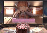 1girl 2d_dating :d backlighting balloon bangs blazer blush bow breasts brown_hair cake cake_slicer calendar classroom collared_shirt commentary computer confetti crying crying_with_eyes_open curtains desk doki_doki_literature_club elbow_rest elbows_on_table eyebrows_visible_through_hair food fork fruit green_eyes grey_jacket hair_bow hand_on_own_cheek hand_on_own_face hands_up happy happy_tears heart highres hits holding holding_fork indoors jacket lens_flare light_particles light_rays lonely long_hair long_sleeves looking_at_viewer medium_breasts monika_(doki_doki_literature_club) monitor neck_ribbon nose_blush open_mouth paper plate ponytail red_neckwear red_ribbon ribbon round_teeth sasoura school_uniform shirt sidelocks sitting slice_of_cake smile solo spoilers strawberry sunbeam sunlight table tears teeth white_shirt window wiping_tears