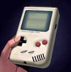 ambiguous_gender bad_id bad_pixiv_id blue_background broken commentary game_boy handheld_game_console hands holding masao nintendo realistic solo