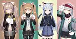 3: 404_(girls_frontline) 4girls :3 :o absurdres animal_ears bangs bare_shoulders beret black_headwear black_jacket black_legwear black_shorts black_skirt blue_dress blue_hair blush breasts brown_eyes brown_hair brown_legwear buttons cat_ears cat_paws cat_tail closed_mouth cowboy_shot cross_hair_ornament crossed_bangs dress dress_shirt fang g11_(girls_frontline) girls_frontline gloves green_eyes green_jacket grey_hair grey_skirt hair_between_eyes hair_ornament hairclip half-closed_eyes hand_up hands_up hat headwear_removed heart highres hk416_(girls_frontline) holding holding_hat http_status_code huge_filesize jacket kemonomimi_mode long_hair long_sleeves looking_at_viewer medium_breasts military military_uniform miniskirt multiple_girls navel off_shoulder one_side_up open_clothes open_jacket open_mouth pantyhose partially_unbuttoned paw_gloves paw_pose paws pleated_skirt red_eyes shirt short_shorts shorts silver_hair skirt smile sparkle spoken_squiggle squiggle standing stomach tail tank_top thighhighs tttanggvl twintails ump45_(girls_frontline) ump9_(girls_frontline) undershirt uniform very_long_hair wavy_hair wavy_mouth white_shirt yellow_eyes zettai_ryouiki