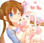 1girl ;3 bangs blue_eyes blush brown_hair closed_mouth double_bun eyebrows_visible_through_hair gen_6_pokemon hair_between_eyes heart holding holding_pokemon long_hair mei_(pokemon) miyashiro pokemon pokemon_(creature) pokemon_(game) pokemon_bw2 raglan_sleeves shirt sleeves_past_elbows smile sylveon twintails upper_body