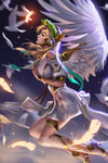 1girl alternate_costume alternate_wings angel_wings backlighting bird blonde_hair breasts closed_eyes dove dress english feathered_wings feathers flying from_side glowing_feather hands_on_own_chest head_wreath headpiece highres laurel_crown liang_xing lips long_hair mechanical_halo mechanical_wings medium_breasts mercy_(overwatch) night night_sky nose overwatch pelvic_curtain red_lips short_sleeves sky solo spread_wings togass white_dress white_feathers white_wings winged_victory_mercy wings