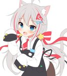 1girl :d ahoge animal_ear_fluff animal_ears apron bangs black_apron blue_eyes blush bow brown_pants cat_ears cat_girl cat_tail collared_shirt commentary_request eyebrows_visible_through_hair fang grey_hair hair_between_eyes hair_bow hair_ornament hairclip hands_up korean_commentary long_hair long_sleeves looking_at_viewer mauve multicolored_hair open_mouth original pants red_bow red_hair red_neckwear shirt simple_background sleeves_past_fingers sleeves_past_wrists smile solo star star_hair_ornament streaked_hair striped striped_bow tail very_long_hair white_background white_shirt