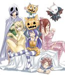 2boys 3girls animal_ears arm_support armpits arms_up ass bed_sheet black_gloves blonde_hair blue_hair breasts cat_ears cat_tail charle_(fairy_tail) cleavage closed_eyes detached_sleeves dress elbow_gloves erza_scarlet fairy_tail flying gloves gray_fullbuster green_shirt hair_ribbon halloween halloween_costume happy_(fairy_tail) large_breasts long_hair looking_at_viewer lucy_heartfilia mashima_hiro multiple_boys multiple_girls natsu_dragneel official_art open_mouth pantyhose pink_hair pink_legwear pink_ribbon ponytail pumpkin red_hair ribbon scarf shirt simple_background sitting sleeveless sleeveless_dress small_breasts spiked_hair strapless striped striped_legwear tail thighhighs twintails wendy_marvell white_background wrist_cuffs yellow_dress zettai_ryouiki