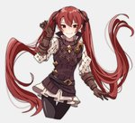 1girl belt black_legwear brown_gloves closed_mouth commentary_request fire_emblem fire_emblem_if gloves grey_background hair_ribbon long_hair long_sleeves luna_(fire_emblem_if) pikapika_hoppe red_eyes red_hair ribbon simple_background smile solo twintails