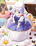 1girl angora_rabbit blue_eyes blue_hair blush bunny cocoa_bean coffee coffee_beans cup dress flower food frilled_gloves frilled_skirt frilled_sleeves frills fruit gloves gochuumon_wa_usagi_desu_ka? hitsukuya in_container in_cup kafuu_chino looking_at_viewer macaron magical_girl minigirl open_mouth pastry skirt solo spoon strawberry sugar_cube teacup tippy_(gochiusa) twintails
