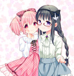 2girls akemi_homura black_hair blue_skirt blush bow braid dress glasses hair_bow hairband kaname_madoka long_hair looking_at_viewer mahou_shoujo_madoka_magica multiple_girls nasunoko pink_eyes pink_hair pink_skirt plaid plaid_dress purple_eyes red-framed_glasses semi-rimless_glasses short_hair skirt smile twin_braids twintails under-rim_glasses