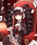 1girl ardenlolo black_hair black_legwear black_nails bonnet card celestia_ludenberck chair commentary cup danganronpa dress drill_hair english_commentary frills gothic_lolita hairband holding holding_cup lamp lolita_fashion long_hair nail_polish necktie playing_card red_eyes red_neckwear ribbon sitting smile solo thighhighs twin_drills twintails white_ribbon