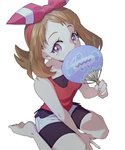 1girl ankea_(a-ramo-do) bangs bare_shoulders bow breasts brown_eyes brown_hair commentary_request covering_mouth cowboy_shot fan haruka_(pokemon) head_scarf looking_at_viewer pokemon pokemon_(game) pokemon_oras red_shirt seiza shirt shorts simple_background sitting solo white_background white_shorts