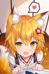 1girl :d animal_ear_fluff animal_ears apron bangs blonde_hair blush brown_apron brown_eyes commentary english_commentary eyebrows_visible_through_hair fang fox_ears fox_girl fox_tail hair_between_eyes hands_up heart hitsukuya indoors japanese_clothes kimono long_sleeves looking_at_viewer miko open_mouth pov red_eyes ribbon_trim senko_(sewayaki_kitsune_no_senko-san) sewayaki_kitsune_no_senko-san smile solo_focus sparkle spoken_heart tail white_kimono wooden_floor