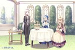 3girls ahoge black_pants blonde_hair blue_dress blue_hairband bow bush cart closed_eyes cup dessert dress food formal grass hair_bow hairband holding holding_cup huziimiyuu long_hair multiple_girls official_art open_mouth outdoors pants pink_dress red_bow sanzenkai_no_avatar silver_hair sitting smile standing suit tablecloth tea teacup teapot tiered_tray twintails two_side_up very_long_hair
