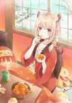 1girl 2017 absurdres animal_ears bangs bird blonde_hair blush braid breasts chick creature cup daruma_doll eating eyebrows_visible_through_hair food fruit highres holding holding_food holding_fruit kotatsu looking_at_viewer millcutto open_clothes open_robe orange orange_slice original purple_eyes robe sitting sleeping small_breasts smile snow table tree wide_sleeves window