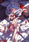 1girl :< artist_name bangs bare_legs barefoot bat_wings bed_sheet black_wings blood blue_eyes blue_hair bow bowtie breasts closed_mouth dress eyebrows_visible_through_hair feet finger_to_mouth fingernails foreshortening hat hat_ribbon head_tilt indoors knee_up leg_garter looking_at_viewer lying mob_cap no_bra nyanya on_back on_bed open_clothes open_dress outstretched_arm panties petals puffy_short_sleeves puffy_sleeves red_eyes red_neckwear red_ribbon remilia_scarlet ribbon rose_petals short_hair short_sleeves small_breasts solo sparkle tareme thigh_strap thighs touhou underwear white_dress white_panties wings