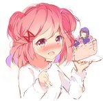2girls :d >_< ayadrevismad blush cake commentary doki_doki_literature_club english_commentary food hair_ornament hairclip in_food minigirl multiple_girls natsuki_(doki_doki_literature_club) open_mouth pink_eyes pink_hair plate simple_background sketch smile spoon two_side_up upper_body white_background yuri_(doki_doki_literature_club)