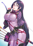 1girl arrow bangs blush bodystocking bodysuit bow_(weapon) breasts commentary_request covered_navel fate/grand_order fate_(series) fingerless_gloves gloves highres holding holding_weapon kyuuso_inukami large_breasts long_hair looking_at_viewer minamoto_no_raikou_(fate/grand_order) open_mouth purple_eyes purple_hair quiver simple_background smile solo very_long_hair weapon