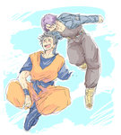 2boys belt black_hair blue_background boots closed_eyes cloud cloudy_sky crossed_legs day denim denim_jacket dougi dragon_ball dragon_ball_z hand_on_another's_back happy jacket male_focus multiple_boys open_mouth pants purple_hair scar simple_background sky smile son_gohan trunks_(dragon_ball) white_background wristband