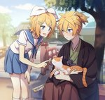 1boy 1girl :d akiyoshi_(tama-pete) animal architecture bangs bare_arms bent_over blonde_hair blue_eyes blue_ribbon blue_skirt blue_sky blush breasts bridge cloud day east_asian_architecture fingernails hairband hakama hand_on_own_thigh haori holding_animal holding_cat japanese_clothes kagamine_len kagamine_rin katana kneehighs long_sleeves looking_at_another miniskirt open_mouth outdoors parted_lips petting pleated_skirt ponytail ribbon school_uniform serafuku short_hair short_sleeves sitting skirt sky small_breasts smile standing swept_bangs sword tree vocaloid weapon white_ribbon wide_sleeves