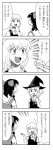 2girls 4koma azumanga_daiou bad_id bow comic detached_sleeves hakurei_reimu hat highres kirisame_marisa long_hair monochrome multiple_girls nattororo parody short_hair touhou translated wand witch_hat