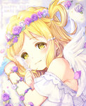 1girl angel_wings blonde_hair blush character_name clenched_hands dated flower_bracelet hair_ornament hair_rings hairpin happy_birthday head_wreath holding_feather light_smile looking_at_viewer love_live! love_live!_sunshine!! ohara_mari petals sakuramochi_n solo twitter_username wings yellow_eyes