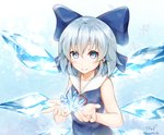 1girl artist_name baileys_(tranquillity650) bangs bare_arms blue_bow blue_eyes blue_hair blue_shirt blush bow cirno closed_mouth commentary_request eyebrows_visible_through_hair hair_between_eyes hair_bow highres ice ice_wings open_hands red_ribbon ribbon shirt short_hair sleeveless smile solo touhou upper_body wings