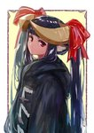 1girl animal_ears bangs black_hair blunt_bangs closed_mouth commentary_request from_side head_tilt horned_girl_(jaco) horns jaco long_hair long_sleeves looking_at_viewer original red_eyes solo twintails twintails_day upper_body