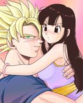 1boy 1girl arms_around_neck bare_arms bare_shoulders black_eyes black_hair blonde_hair bracelet breasts chi-chi_(dragon_ball) chinese_clothes couple dragon_ball dragon_ball_z fingernails frown gradient gradient_background green_eyes hands_on_another's_back hetero jewelry light_smile long_hair looking_away masa_(p-piyo) orange_background pink_background profile short_hair simple_background sleeveless smile son_gokuu spiked_hair super_saiyan upper_body